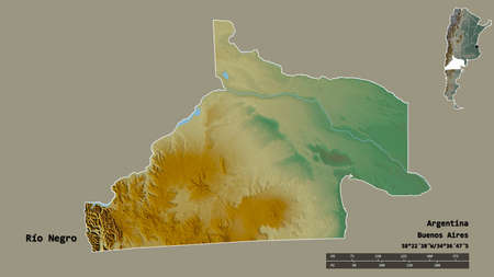 Shape of Río Negro, province of Argentina, with its capital isolated on solid background. Distance scale, region preview and labels. Topographic relief map. 3D rendering