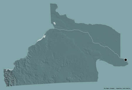 Shape of Río Negro, province of Argentina, with its capital isolated on a solid color background. Colored elevation map. 3D rendering Reklamní fotografie