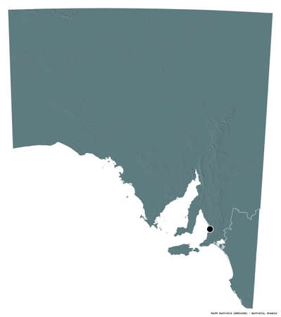 Shape of South Australia, state of Australia, with its capital isolated on white background. Colored elevation map. 3D rendering Stock Photo