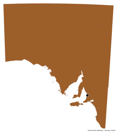 Shape of South Australia, state of Australia, with its capital isolated on white background. Composition of patterned textures. 3D rendering Stock Photo