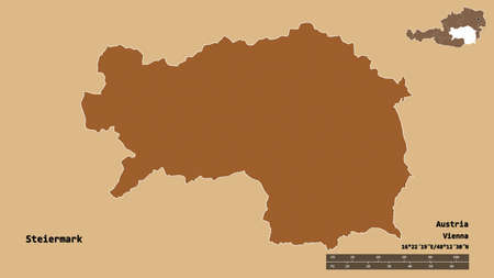 Shape of Steiermark, state of Austria, with its capital isolated on solid background. Distance scale, region preview and labels. Composition of patterned textures. 3D rendering