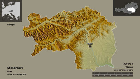Shape of Steiermark, state of Austria, and its capital. Distance scale, previews and labels. Topographic relief map. 3D rendering Stock Photo