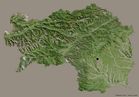 Shape of Steiermark, state of Austria, with its capital isolated on a solid color background. Satellite imagery. 3D rendering