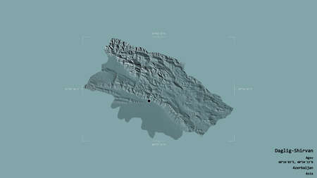 Area of Daglig-Shirvan, region of Azerbaijan, isolated on a solid background in a georeferenced bounding box. Labels. Colored elevation map. 3D rendering