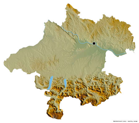 Shape of Oberösterreich, state of Austria, with its capital isolated on white background. Topographic relief map. 3D rendering Imagens