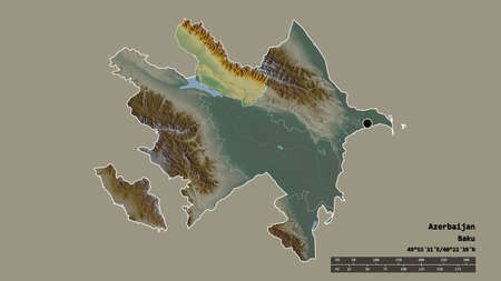 Desaturated shape of Azerbaijan with its capital, main regional division and the separated Shaki-Zaqatala area. Labels. Topographic relief map. 3D rendering Stockfoto