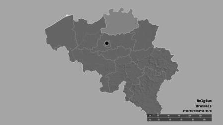 Desaturated shape of Belgium with its capital, main regional division and the separated Antwerpen area. Labels. Bilevel elevation map. 3D rendering