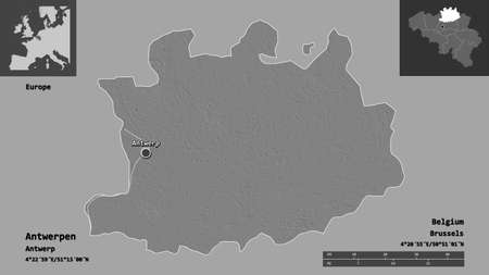 Shape of Antwerpen, province of Belgium, and its capital. Distance scale, previews and labels. Bilevel elevation map. 3D rendering