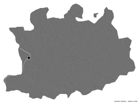 Shape of Antwerpen, province of Belgium, with its capital isolated on white background. Bilevel elevation map. 3D rendering
