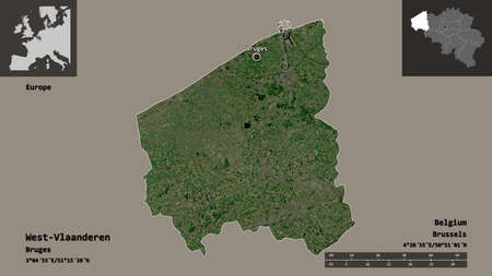 Shape of West-Vlaanderen, province of Belgium, and its capital. Distance scale, previews and labels. Satellite imagery. 3D rendering 스톡 콘텐츠