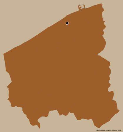 Shape of West-Vlaanderen, province of Belgium, with its capital isolated on a solid color background. Composition of patterned textures. 3D rendering