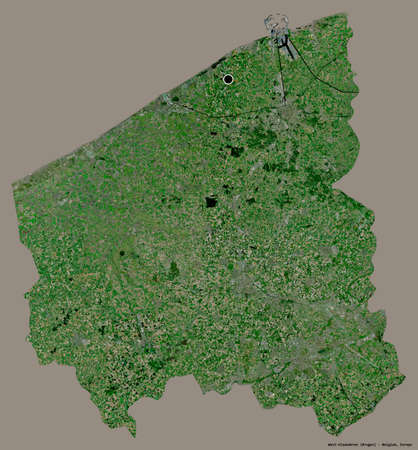 Shape of West-Vlaanderen, province of Belgium, with its capital isolated on a solid color background. Satellite imagery. 3D rendering