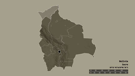 Desaturated shape of Bolivia with its capital, main regional division and the separated Pando area. Labels. Colored elevation map. 3D rendering