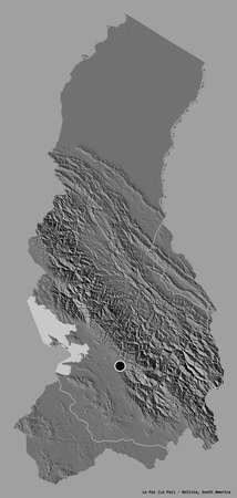 Shape of La Paz, department of Bolivia, with its capital isolated on a solid color background. Bilevel elevation map. 3D rendering