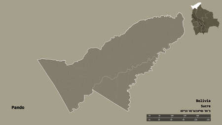 Shape of Pando, department of Bolivia, with its capital isolated on solid background. Distance scale, region preview and labels. Colored elevation map. 3D rendering