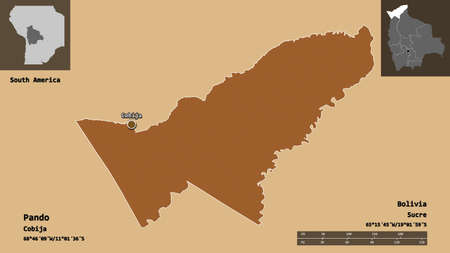 Shape of Pando, department of Bolivia, and its capital. Distance scale, previews and labels. Composition of patterned textures. 3D rendering
