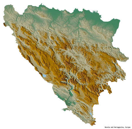 Shape of Bosnia and Herzegovina with its capital isolated on white background. Topographic relief map. 3D rendering