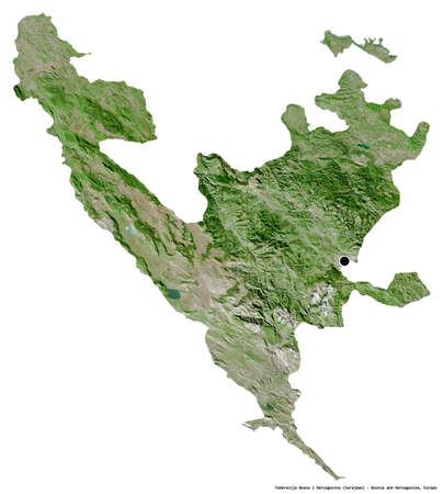 Shape of Federacija Bosna i Hercegovina, entity of Bosnia and Herzegovina, with its capital isolated on white background. Satellite imagery. 3D rendering