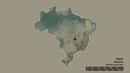 Desaturated shape of Brazil with its capital, main regional division and the separated Ceará area. Labels. Topographic relief map. 3D rendering Stock Photo