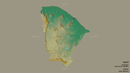 Area of Ceará, state of Brazil, isolated on a solid background in a georeferenced bounding box. Labels. Topographic relief map. 3D rendering