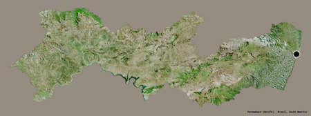 Shape of Pernambuco, state of Brazil, with its capital isolated on a solid color background. Satellite imagery. 3D rendering Imagens
