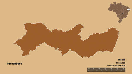 Shape of Pernambuco, state of Brazil, with its capital isolated on solid background. Distance scale, region preview and labels. Composition of patterned textures. 3D rendering