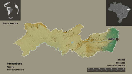 Shape of Pernambuco, state of Brazil, and its capital. Distance scale, previews and labels. Topographic relief map. 3D rendering