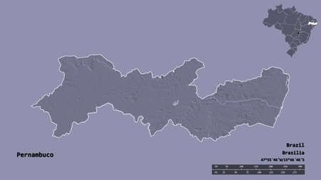Shape of Pernambuco, state of Brazil, with its capital isolated on solid background. Distance scale, region preview and labels. Colored elevation map. 3D rendering Imagens