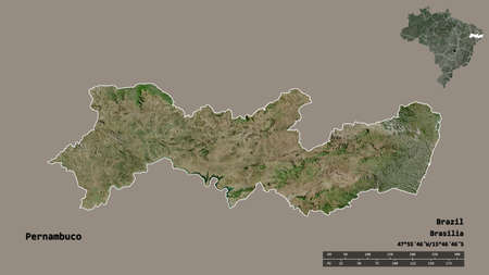 Shape of Pernambuco, state of Brazil, with its capital isolated on solid background. Distance scale, region preview and labels. Satellite imagery. 3D rendering