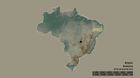 Desaturated shape of Brazil with its capital, main regional division and the separated Pernambuco area. Labels. Topographic relief map. 3D rendering Imagens