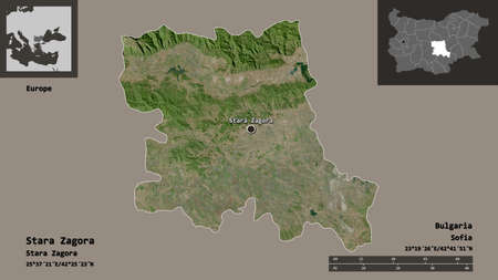 Shape of Stara Zagora, province of Bulgaria, and its capital. Distance scale, previews and labels. Satellite imagery. 3D rendering Imagens