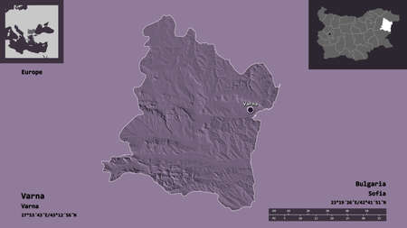 Shape of Varna, province of Bulgaria, and its capital. Distance scale, previews and labels. Colored elevation map. 3D rendering Stock Photo
