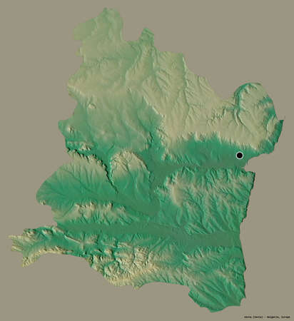 Shape of Varna, province of Bulgaria, with its capital isolated on a solid color background. Topographic relief map. 3D rendering