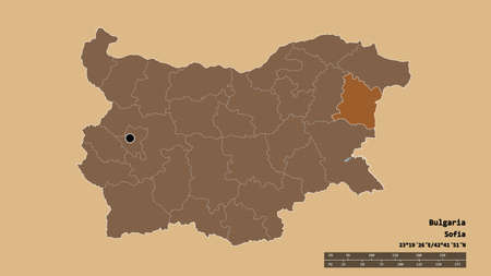 Desaturated shape of Bulgaria with its capital, main regional division and the separated Varna area. Labels. Composition of patterned textures. 3D rendering