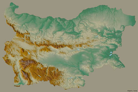 Shape of Bulgaria with its capital isolated on a solid color background. Topographic relief map. 3D rendering