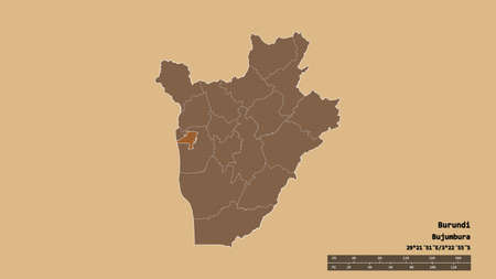 Desaturated shape of Burundi with its capital, main regional division and the separated Bujumbura Mairie area. Labels. Composition of patterned textures. 3D rendering Standard-Bild