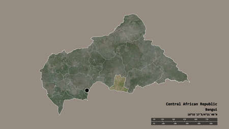 Desaturated shape of Central African Republic with its capital, main regional division and the separated Basse-Kotto area. Labels. Satellite imagery. 3D rendering