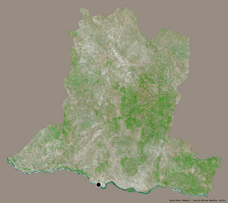 Shape of Basse-Kotto, prefecture of Central African Republic, with its capital isolated on a solid color background. Satellite imagery. 3D rendering