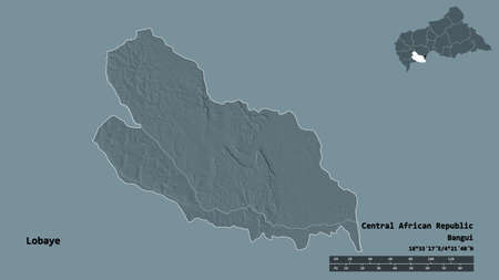 Shape of Lobaye, prefecture of Central African Republic, with its capital isolated on solid background. Distance scale, region preview and labels. Colored elevation map. 3D rendering