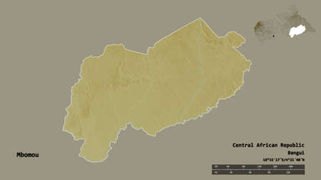 Shape of Mbomou, prefecture of Central African Republic, with its capital isolated on solid background. Distance scale, region preview and labels. Topographic relief map. 3D rendering