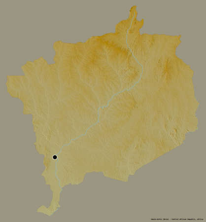 Shape of Haute-Kotto, prefecture of Central African Republic, with its capital isolated on a solid color background. Topographic relief map. 3D rendering