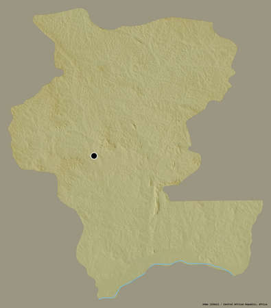 Shape of Kémo, prefecture of Central African Republic, with its capital isolated on a solid color background. Topographic relief map. 3D rendering