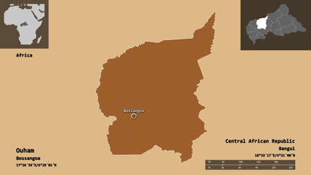Shape of Ouham, prefecture of Central African Republic, and its capital. Distance scale, previews and labels. Composition of patterned textures. 3D rendering