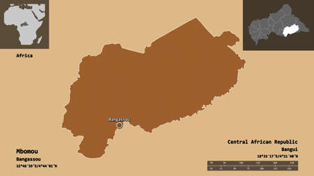 Shape of Mbomou, prefecture of Central African Republic, and its capital. Distance scale, previews and labels. Composition of patterned textures. 3D rendering