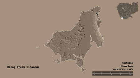 Shape of Krong Preah Sihanouk, municipality of Cambodia, with its capital isolated on solid background. Distance scale, region preview and labels. Colored elevation map. 3D rendering