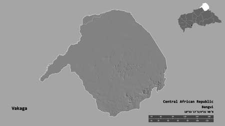 Shape of Vakaga, prefecture of Central African Republic, with its capital isolated on solid background. Distance scale, region preview and labels. Bilevel elevation map. 3D rendering