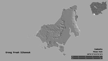 Shape of Krong Preah Sihanouk, municipality of Cambodia, with its capital isolated on solid background. Distance scale, region preview and labels. Bilevel elevation map. 3D rendering