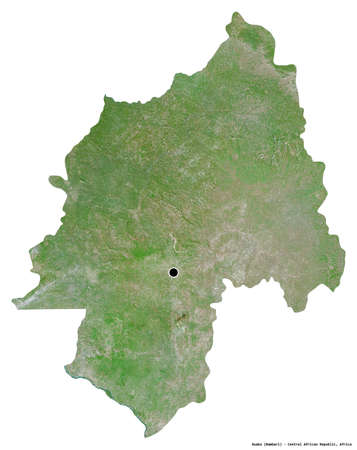 Shape of Ouaka, prefecture of Central African Republic, with its capital isolated on white background. Satellite imagery. 3D rendering