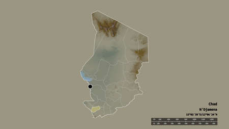 Desaturated shape of Chad with its capital, main regional division and the separated Logone Occidental area. Labels. Topographic relief map. 3D rendering