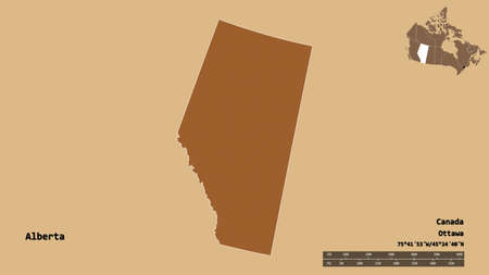 Shape of Alberta, province of Canada, with its capital isolated on solid background. Distance scale, region preview and labels. Composition of patterned textures. 3D rendering